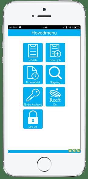 Reeft ordrestyring app. Hovedmenu på montør app.